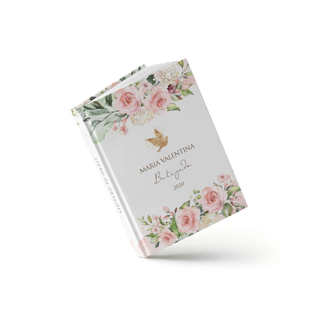 Livro Batizado - Floral Rosa - Sweetcards